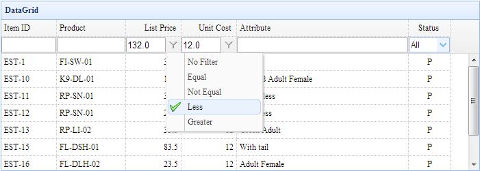 数据网格行过滤(DataGrid Filter Row)